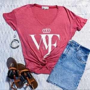 Wildfox oversized drip logo tee, red, size S